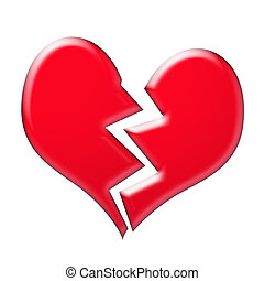 Broken hearted - A heart broken in two
