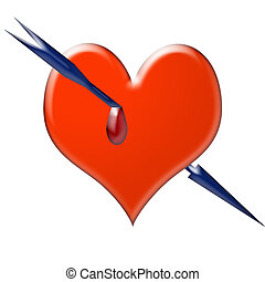 Arrow through the heart - A red heart pierced by an arrow...