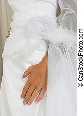 Hand on wedding gown - Hand with ring on wedding gown