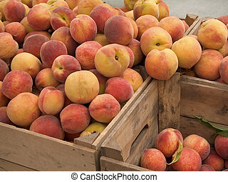 Delightful Peaches - This is a shot of some crates of fresh...