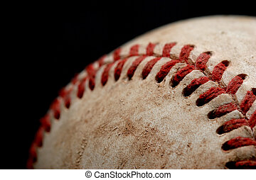 baseball macro over black - macro of a baseball over black,...