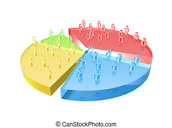Market Share / User base chart. Detailed 3D illustration....