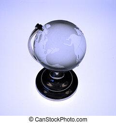 Globe of the World - Blue toned glass globe