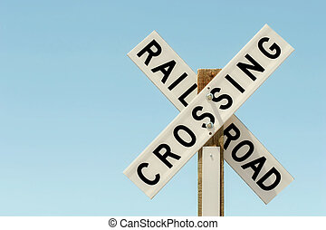 railroad crossing sign - railroad crossing sign on wood...