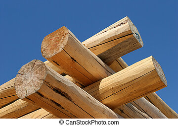log home construction detail - corner close up of a log home...