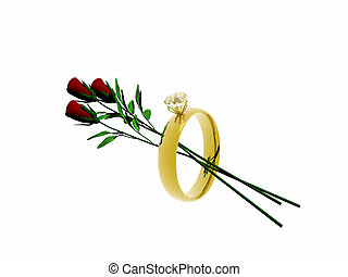 Wedding ring with roses. - A wedding with roses in it.