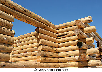 log home construction - exterior frame of a log home under...
