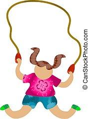 Skipping - little girl skipping