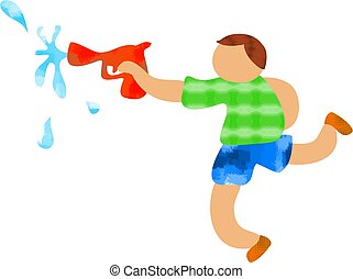 Squirty Gun - boy with water gun