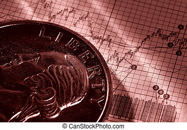 Stock Market - Photo of a Quarter on a Stock Chart