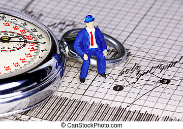 Timing The Market - Miniature Person Sitting on a Stopwatch...