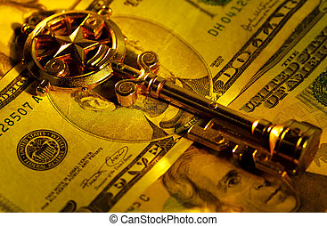 Key To Success - Key and Money.  Key To Success Concept