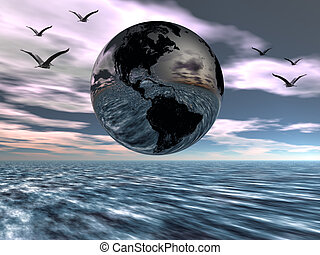 Earth, globe. - A digital rendering of a globe, earth, with...