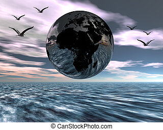 Europe and africa - A digital rendering of a globe, earth,...