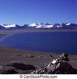 Nam Co Lake with Mani stones in Tibet