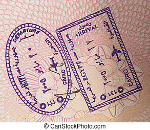 Airport stamps Cairo - Entry and exit stamps for Cairo...