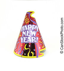 New Year - Happy new year party hat over white