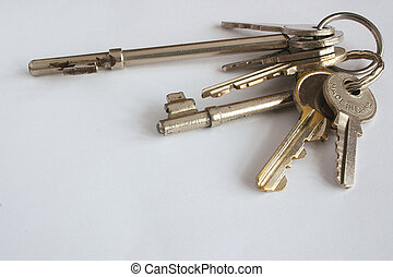 Keys - bunch of keys against a light background