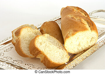 Bread on tray 2 - Sliced baguette on a silver tray