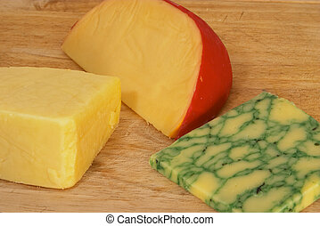 Three cheeses 2 - Cheeseboard with Cheddar, Edam and Sage...