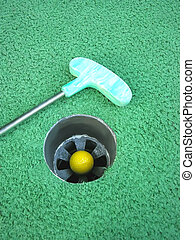 Hole In One - Hole in one - Success Yellow golf ball inside...