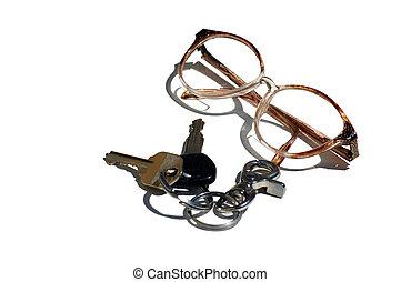 bifocals and keys - pair of glasses and car keys
