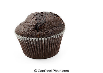 Food 17 - A single Chocolate Chip muffin on a white...