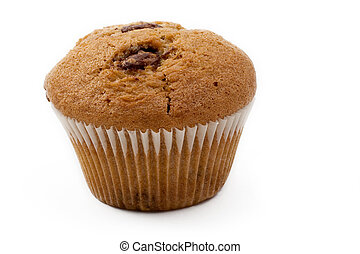 Food 15 - A single Caramel Chip muffin on a white background...