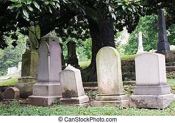 tombstones, cemetary