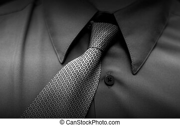 Cheap Tie - crocked tie, black and white