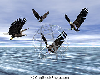 Captured - Bryce creation. An eagle captured in a glass...