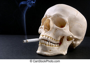 Smoker-Skull - A smoking skull (12MP camera). The skull is...