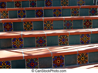 Spanish Tile Steps - Spanish style steps in Ojai, California...
