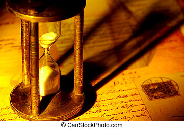 Vintage Hourglass - Photo of a Hourglass and Old Letters...