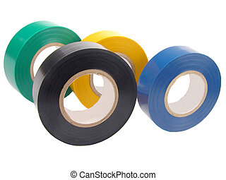 Adhesive tape - Rolls of adhesive tape over white
