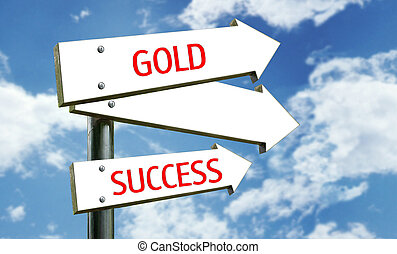 success - a photo of a street sign with a goldsuccess theme...