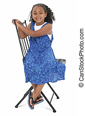 Girl Child Sitting - Beautiful Girl In Blue Summer Dress...