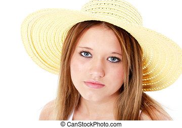 Teen Girl Expression - Beautiful seriousTeen In Yellow Hat...