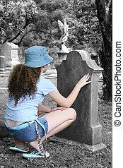 ragazza, in, cimitero, 1