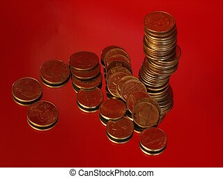 Nickels and Quarters - A bunch of nickels and quarters over...