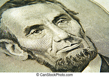 Abe - A close up of Abraham lincoln from the five dollar...