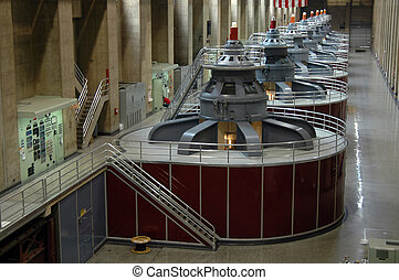 Hoover Dam turbines - Hydroelectric turbines at Hoover Dam,...