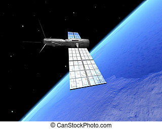 Satellite over the - A communication satellite over the...