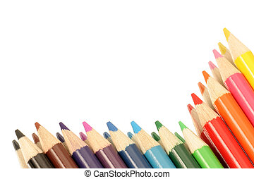 border of color - colored pencils framing half the page
