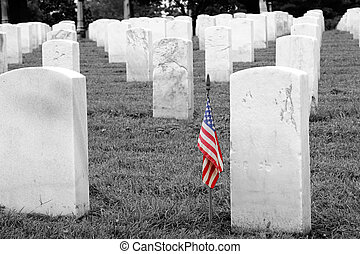Soldiers Grave - Selective Colorization - a soldier\'s grave...