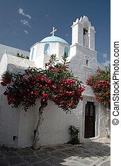 greek church - a greek church with a beautiful dome and a...