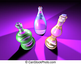 Gaudy Bottles 1 - 3D Bottle Arrangement Rendered in a gaudy...