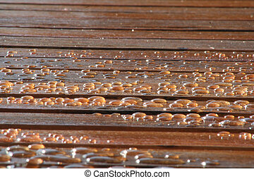 Water Drops on Wood Deck
