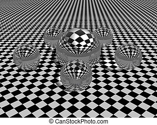 Spheres. - Transparant Spheres on a patterned floor. Bryce...