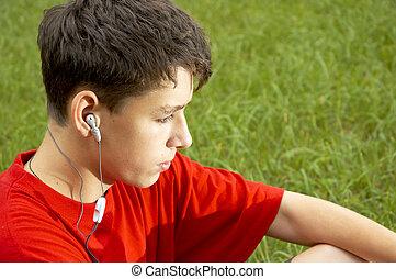 adolescentes, escutar, mp3, jogador